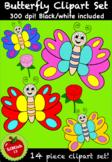 FREE Butterfly Clipart Set (14 piece) 300dpi