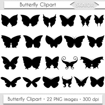 Butterfly Clipart Silhouette Digital Insect Clipart Butterfly Wings Printable