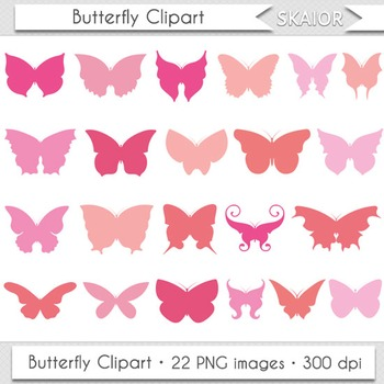 Butterfly Clipart Silhouette Pink Insect Butterfly Wings Printable Red Orange