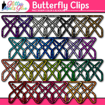 Butterfly Fastener Clip Art {Rainbow Glitter Back to School Supplies for Poster}