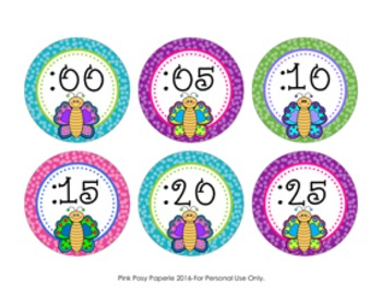 Butterfly Clock Number Labels