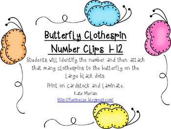 Butterfly Clothespin Number Clips 1-12 Freebie