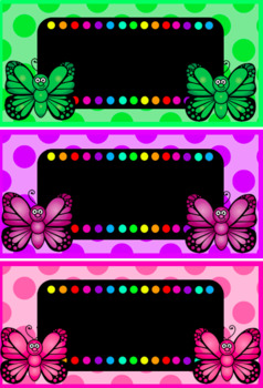 Back to School - Butterfly Colourful Name Labels