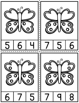 Butterfly Counting Clip Cards and Reader 1-12