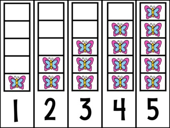 Butterfly Counting Frame (#'s 1 - 5) ~ Number Recognition, Counting