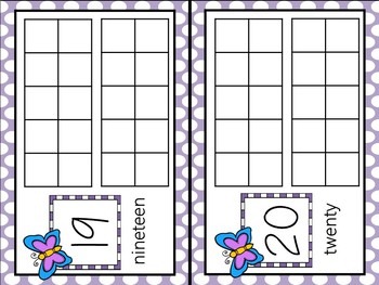 Butterfly Counting Ten Frames Numbers 1 - 20  - Complete / Blank Sets
