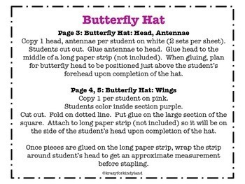 Butterfly Craft: Hat (Bugs, Insects)