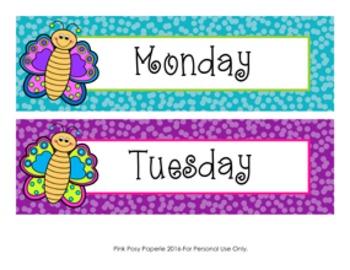 Butterfly Days of the Week Calendar Headers