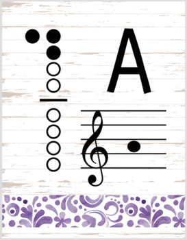 Butterfly Decor Theme - recorder fingering charts