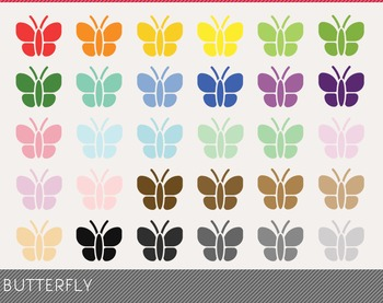 Butterfly Digital Clipart, Butterfly Graphics, Butterfly PNG, Rainbow Butterfly