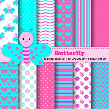 Butterfly Digital Paper & Clipart