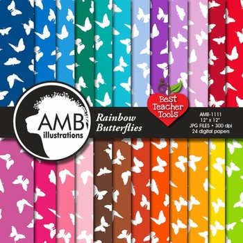 Digital Papers - Butterfly digital paper and backgrounds, AMB-1111