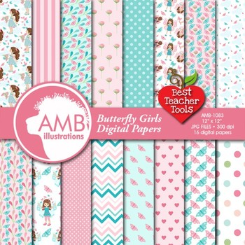 Butterfly Digital Papers, Butterfly Girls Papers, {Best Teacher Tools} AMB-1083