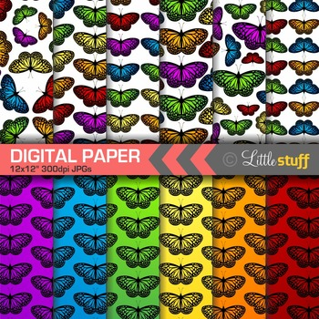Butterfly Digital Papers, Colorful Butterflies Digital Backgrounds