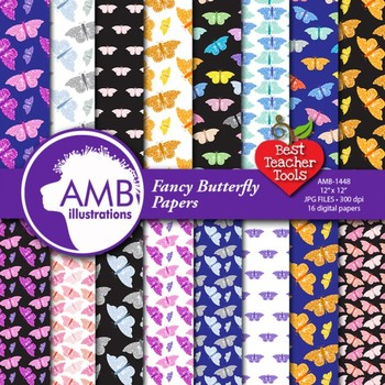 Butterfly Digital Papers, Multi Colored, {Best Teacher Tools} AMB-1448