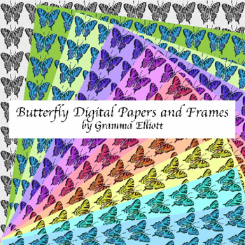 Butterfly Digital Papers and Frames