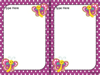 Butterfly EDITABLE Parent Letter, Announcement, Newsletter, Stationary, Name Tag
