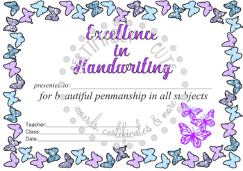 Butterfly Excellence in Handwriting