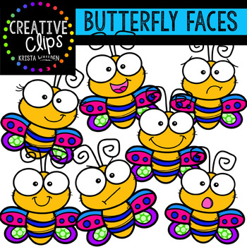 Butterfly Faces: Spring Clipart {Creative Clips Clipart}