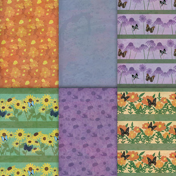 Butterfly Flower Garden Patterns - 10 Handmade Floral Gardening Papers