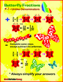 Butterfly Fraction: Adding & Subtracting Fractions {Poster, Cards & Worksheets}