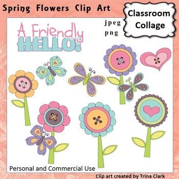 Button Flower Garden Clip Art  Color personal & commercial use