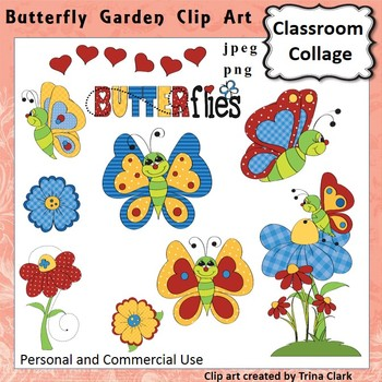 Butterfly Garden Clip Art - Color personal & commercial use
