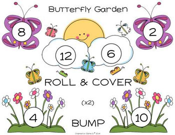 Multiply by 2, 4, or 6 Roll & Cover or BUMP Game - Butterfly Garden