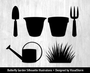 Butterfly Garden Silhouette Clipart, Flowers, Butterflies & Gardening Images