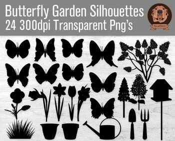 Butterfly Garden Silhouette Clipart, Flowers, Butterflies