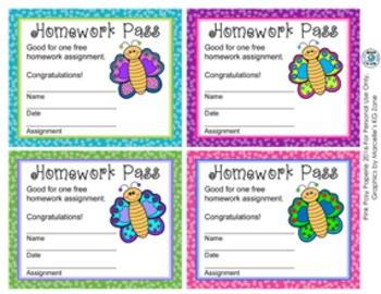 Butterfly Homework Passes