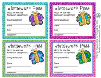Butterfly Homework Passes