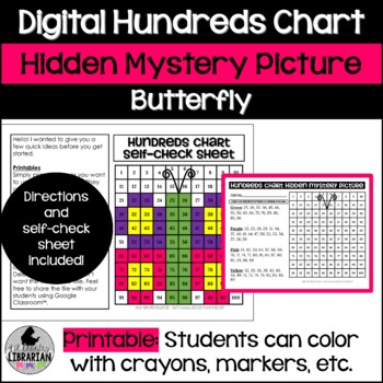 Butterfly Hundreds Chart Picture Activity for Spring and Summer Math