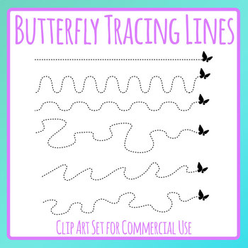 Butterfly / Insect Flying Tracing Lines for Fine Motor Control Practice Clip Art