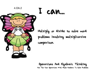 Butterfly Kids Theme 4th grade math Common Core Posters fourth Grade Standards