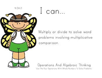 Butterfly Kids Theme 4th grade math Common Core Posters fo
