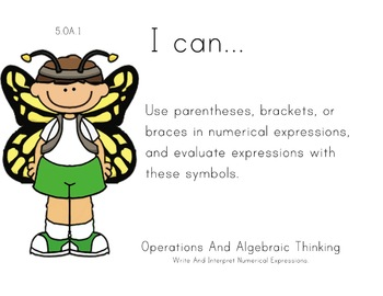 Butterfly Kids Theme 5th grade math Common Core Posters Fifth Grade Standards