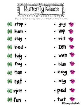 Butterfly Kisses - Real and Nonsense Words - Literacy Center