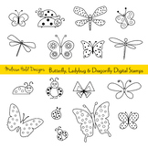 Butterfly, Ladybug and Dragonfly Digital Stamps Clipart