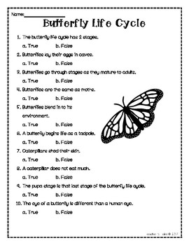 Butterfly Life Cycle Anticipation Guide