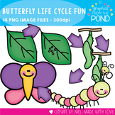 Butterfly Life Cycle Clipart - BW and Color