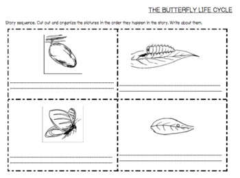 Butterfly Life Cycle-Cut and Paste Sequence