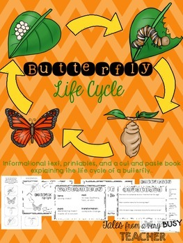 Butterfly Life Cycle {Informational Text, Printables, Cut & Paste Booklet}