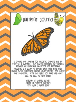 Butterfly Life Cycle Journal and Assessment