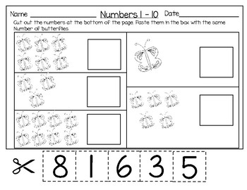 Butterfly Life Cycle Math Worksheets 854536 on Free Cut And Paste Numbers Tpt 1 50 Kindergarten