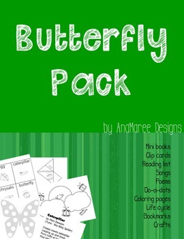 Butterfly Life Cycle. Mini-books, clip cards, songs, craft and ideas.