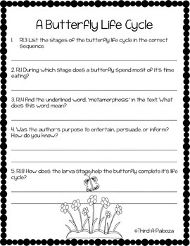 Butterfly Life Cycle Pack: Close Read, Questions, Foldable, and Language!