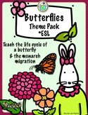 Butterfly Life Cycle Theme Pack in ENGLISH for ESL ELL