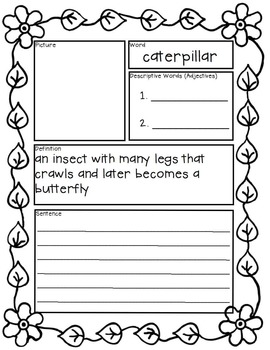 Butterfly Life Cycle: Tiered Vocabulary Booklets