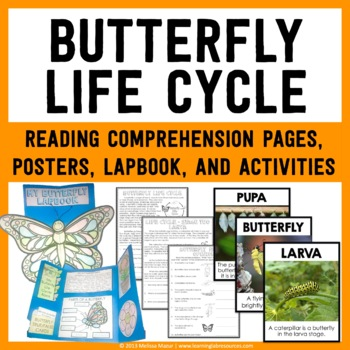 Butterfly Life Cycle Lapbook, Reading Passages, Activities, & Posters